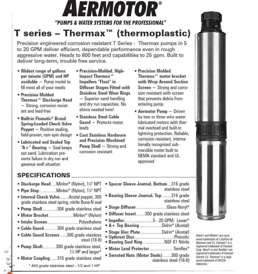 Aermotor Thermax Submersible Pumps Water Softener Parts Simmons Well Pump Wiring Diagram Click On The Images Below To Enlarge